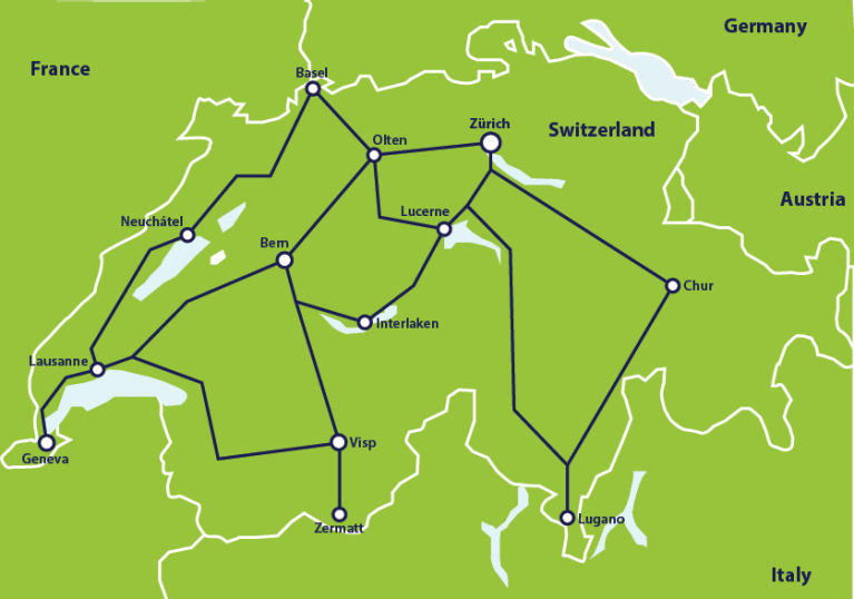 Mapa de trenes de Suiza