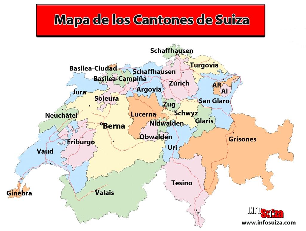 Mapa de Suiza - Infosuiza