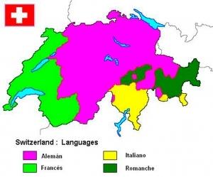 Mapa de los idiomas en Suiza