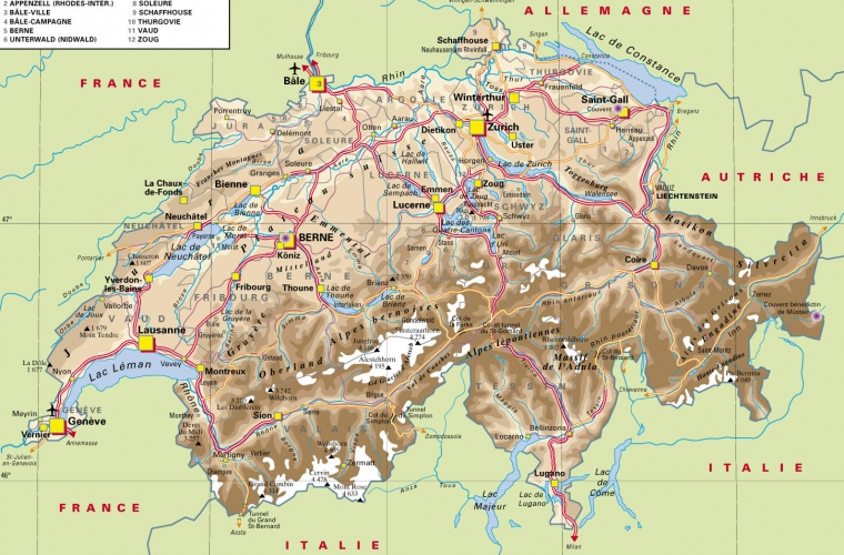 Mapa Politico De Suiza.Mapa De Suiza Infosuiza